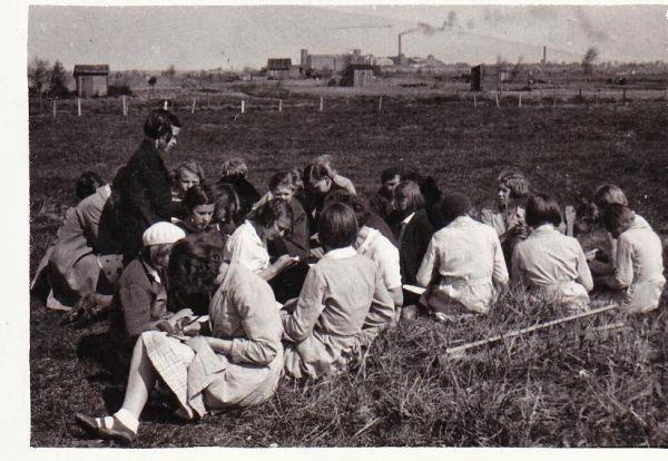 Pelgulinna algkooli õpilased Sitsi karjamaal koolimaja kõrval. Taga paistab Balti puuvillatehas. Mõned aastad hiljem pikendati heinamaale Oskari, tänane Ristiku tänav ja kerkisid kortermajad.