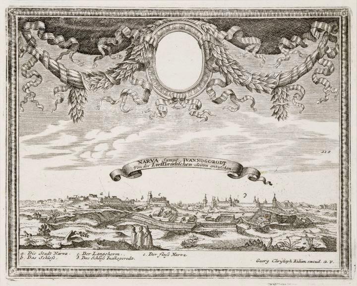 Oleariuse vaade Narvale ja Jaanilinnale 1656. aastal, kui Narva oli säilitanud veel oma keskaegse ilme.