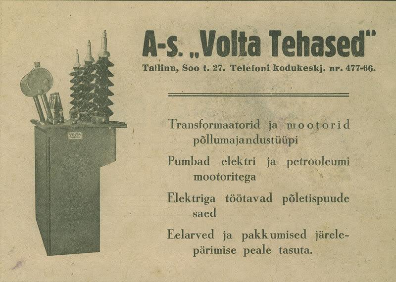 Volta tehase reklaam 1930. aastatest. Tööstuse tänav kandis toona sealkandis Soo tänava nime.