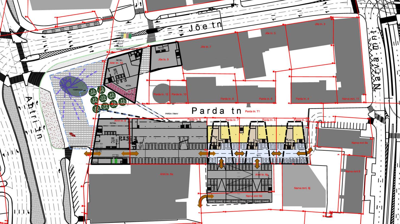 180514 Parda tn 3, 5, 7 arhitektuurne eskiis asendiplaan (Alver Arhitektid OÜ)
