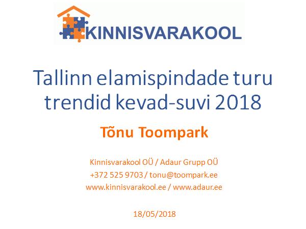Tallinna elamispindade turu trendid kevad-suvi 2018
