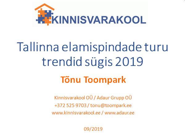 Tallinna elamispindade turu trendid sügis 2019