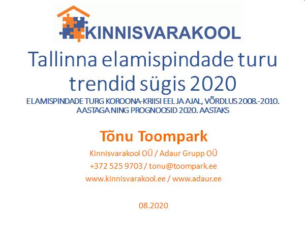 Tallinn elamispindade turu trendid suvi-sügis 2020