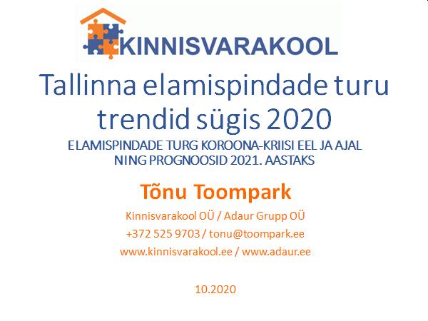 Tallinna elamispindade turu trendid sügis 2020